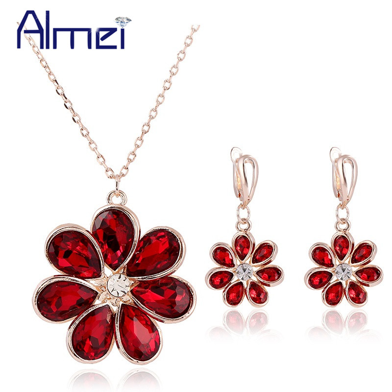 Almei Necklace with Earrings Flower Blue Crystal Jewelry Sets Butterfly Opal Rose Gold Color Necklaces Ste for Women JS0102