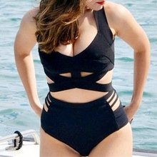 Plus Size Bikini 2017 Large Size Swimsuit High Waist Swimwear XXXL Women Black Thin Bandage Bathing Suits Drop Shipping
