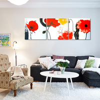 Modern Wall Art High Quality Handpainted 3 Piece Flowers Oil Paintings On Canvas Red Yellow Flower Painting For Wall Decoration