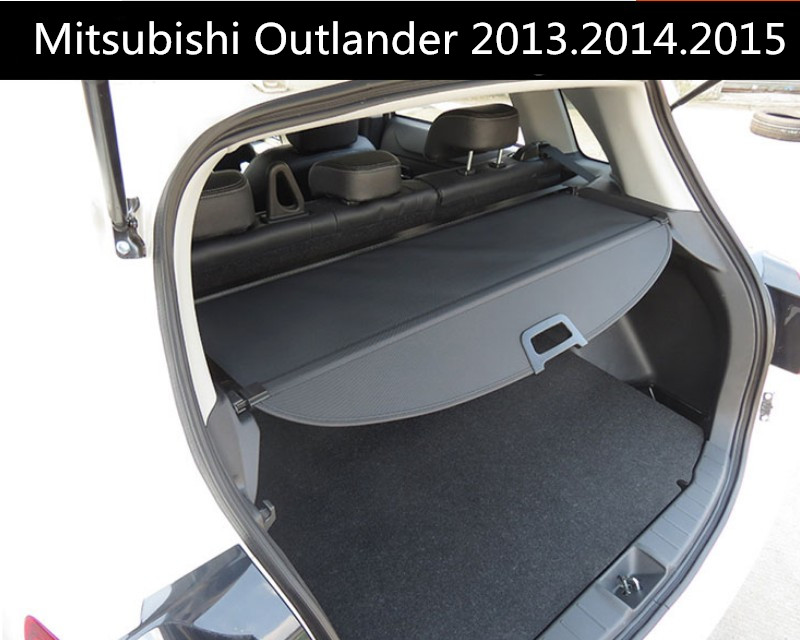 Car Rear Trunk Security Shield Cargo Cover For Mitsubishi Outlander 2013.2014.2015 High Qualit Black Beige Auto Accessories car rear trunk security shield shade cargo cover for toyota highlander 2009 2010 2011 2012 2013 2014 2015 2016 2017 black beige