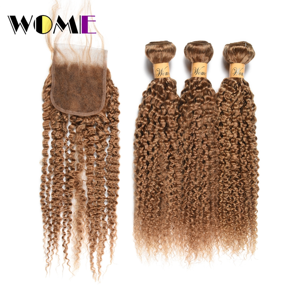 Wome Curly Bundles With Closure #27 Honey Blonde Color Human Hair Weave 3 Bundles With 4X4 Lace Closure Double Weft Hair