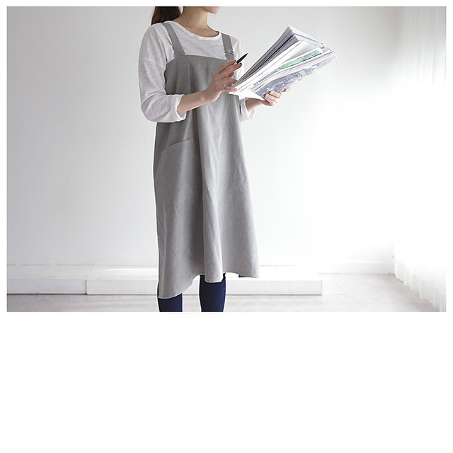 New Brief Nordic Wind Washed Cotton Linen Cooking Kitchen Apron For Woman Flower Shop smock bib strap dress Custom Logo Gift