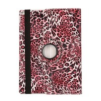 Ultra Thin Leopard 360 Degree Rotation Flip Stand PU Leather Stand Holder Pouch Case Cover For