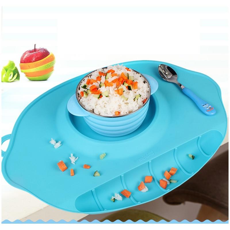 Silikonplatta bricka skålmattor barn barn bordsduk uppsättning barn - Äta och dricka - Foto 2
