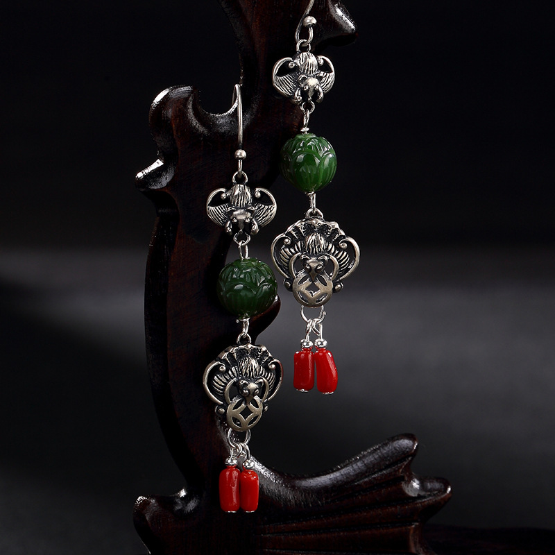2018 Real Limited One Deer S925 Pure Antique Mosaic Real Jade Lotus Bat Blessing In Front Of Lady Earrings Earrings. цена