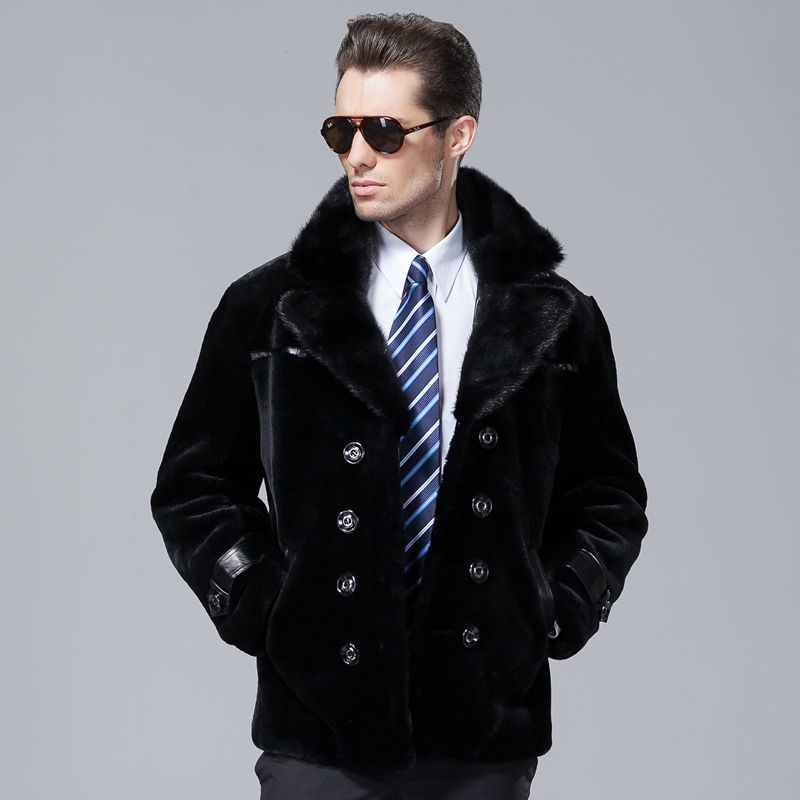 Sheep Shearing Fur Coat Male Fur Mink Fur Collar Jacket  Men's Natural Sheepskin Fur Overcoat(China)