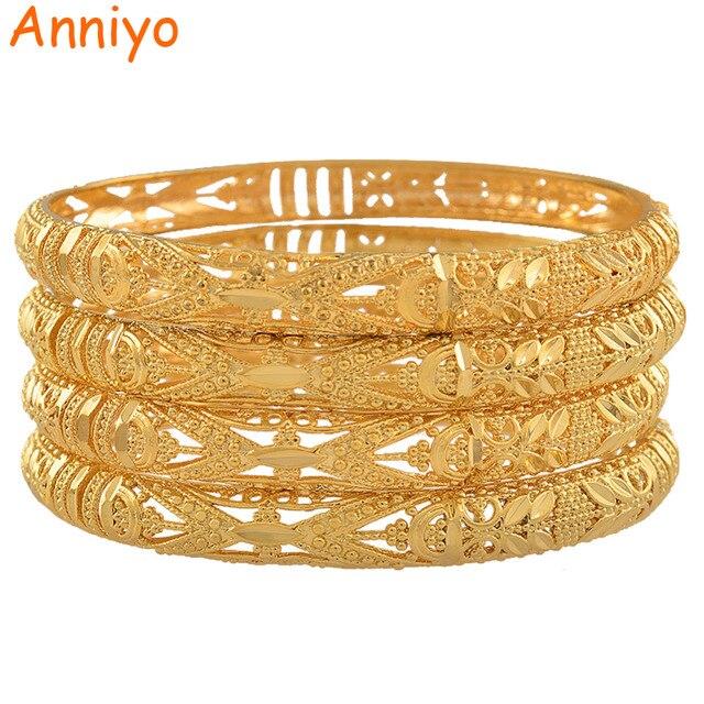 Anniyo 4 Pcs/Lot Ethiopian Bangle for Women Dubai Bride Wedding Luxury Bracelet African Party Jewelry Middle East Gift #088306