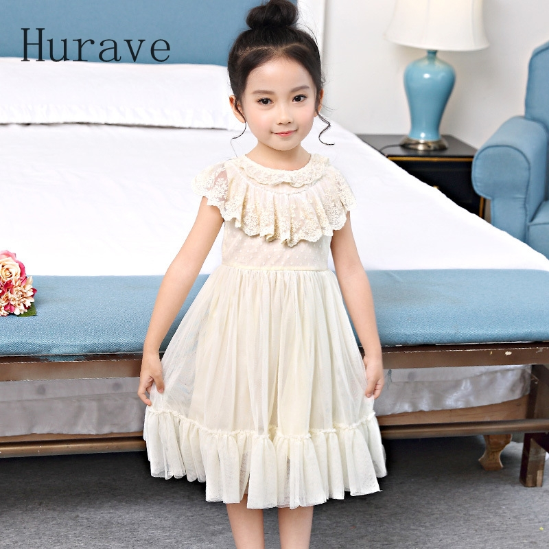Hurave girls dress kids mesh clothes princess vestidos lace girl clothing Costumes for toddler performance girl dress new 2017 summer lace flower patchwork mesh princess girl s dresses kids clothes costumes for girls clothing gdr008