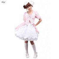 2018 Womens Pink Sweet Lolita Dress Cotton Short Sleeves Bow Ruffles lolita Style Cute Girls Lace Lolita Dress Cosplay Costumes