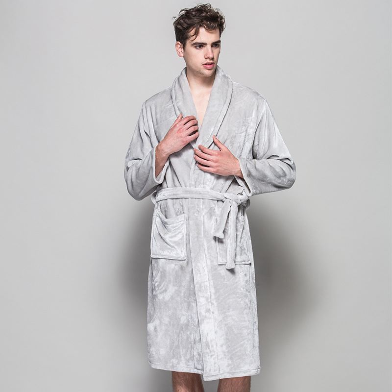 2018 Soft Quality Flannel Robes Man Black Grey Home Cloth Winter Long Bath Robes For Men Spa Bathrobes