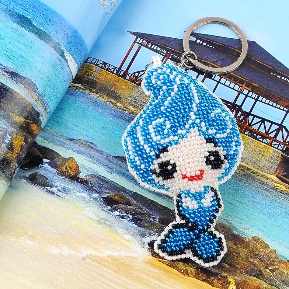 9.5 centimetri sirena perle di giocattoli per bambini di età fai da te portachiavi ricamo fatto A mano a punto croce pieno-in rilievo zaino nuovo commercio all'ingrosso