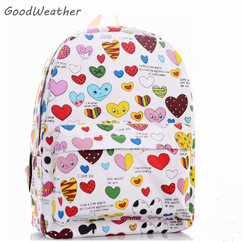 Cute Women Canvas Backpacks Small Heart Print Emoji Face Printing School Bag For Teenagers Girls Shoulder Bag 14 colors julia lovell the opium war