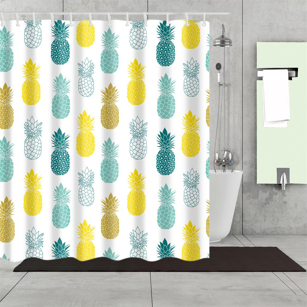 Bathroom Shower Curtain Blue Yellow Pineapple Shower Curtains Fabric Shower Room Curtain Durable Waterproof Home Bath Curtain