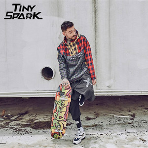Image 5 - טלאי סוודר משובץ ארוך שרוול נים חולצות Mens היפ הופ רוכסן כיס מזדמן חולצות אופנה Streetwear 2020 סווטשירט