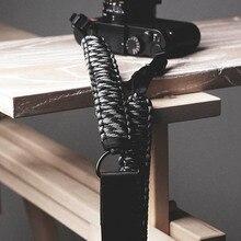 Sr. pedra artesanal de couro genuíno câmera alça ombro estilingue cinto pára quedas cabo tricô (alça de ombro ajustável)