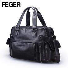 FEGER neue design mode solid black pu-leder reise seesack großes volumen mens handliche wochenende tasche