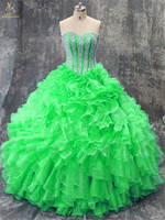 Bealegantom 2018 Sexy Red Blue Sweetheart Crystal Ball Gown Quinceanera Dress with Sequin Organza Vestidos De 15 Anos QA1387