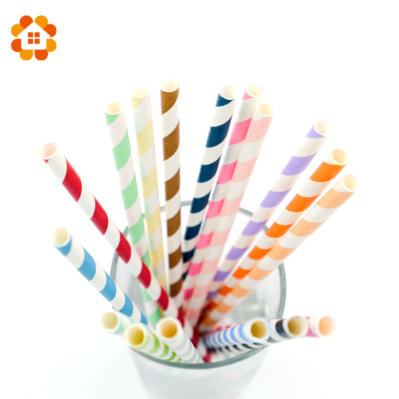 New 25pcs/lot Striped Paper Straws for Christmas Birthday Wedding Decorative Party Event Supplies Creative Drinking Straws
