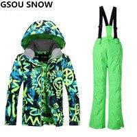 Gsou зимние лыжный костюм для Обувь для мальчиков Дети Водонепроницаемый теплые Сноубординг Костюмы лыжная куртка сноуборд Наборы для ухода