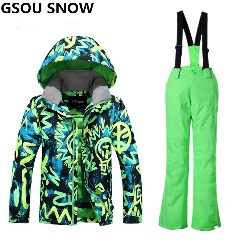 Gsou Snow Winter Ski Suit For Boys Kids Waterproof Warm Snowboarding Suits Ski Jacket Snowboard Sets Outdoor Skiing Snow Wear