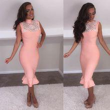 2017 frühlingsmode rosa bandage dress kurze cocktailparty-kleider high neck sexy spitze dress frauen vestidos