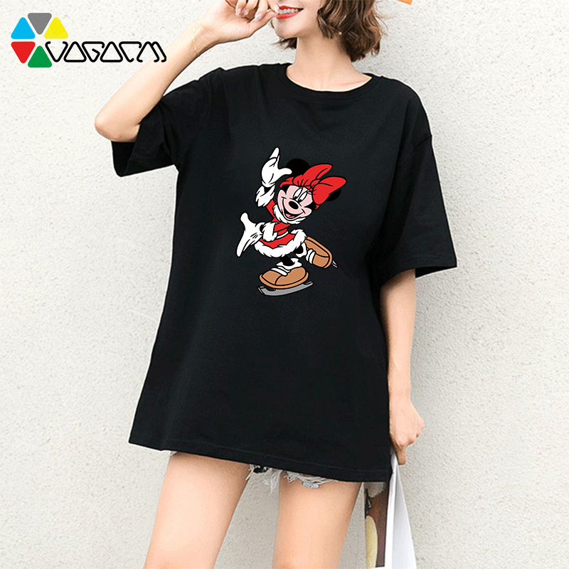Minnie Mickey Mouse 2019 New Plus Size Tees Women Fashion Cartoon Print Loose Short Sleeve Party Harajuku T Shirts White in T Shirts from Women 39 s Clothing