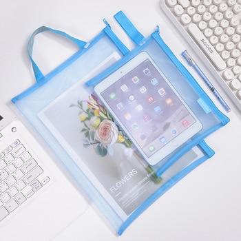 Solid Color Document Bag A4 A5 Transparent Gridding Zip Storage Bags Pen Filing Products Pocket Folder Office & School Supplies 3