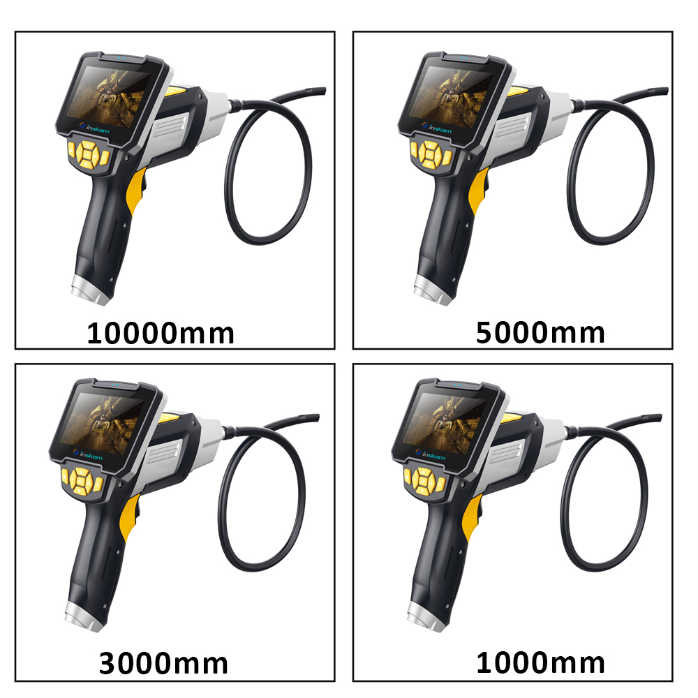 Profession Industrial Endoscope Digital Semi-Rigid Borescope LCD Snake Camera 1080P HD Video Waterproof Inspection Camera 10M