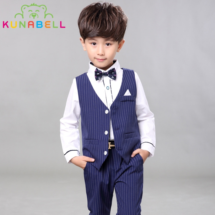 2017 Brand Kids Boy Fashion Wedding Suit Set England  Gentle Boys Vest Shirt Pants Formal Suit Children Spring Clothing Set B031