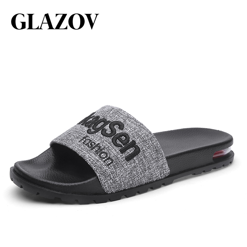 GLAZOV Brand Men Slippers 2019 Summer Mens Shoes Casual Breathable Beach Sandals Slippers Black Red Flip Flops Men Slides Flats