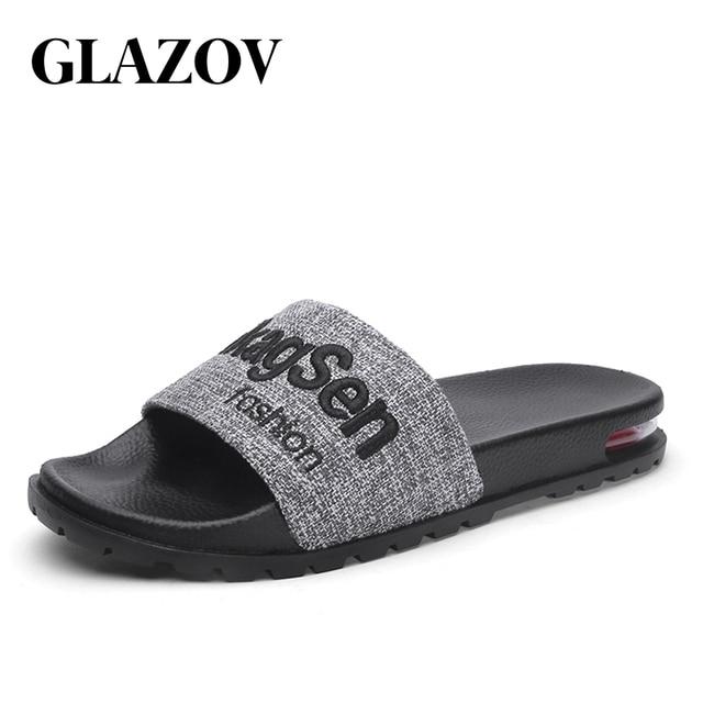 GLAZOV Brand Men Slippers 2019 Summer Mens Shoes Casual Breathable Beach Sandals Slippers Black Red Flip Flops Men Slides Flats