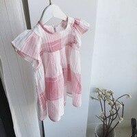 أطفال طفلة اللباس عارضة منقوشة الوردي الأسود يطير كم فستان جديد الصيف الرضع الفتيات ملابس vestidos الأطفال توتو الأمراء