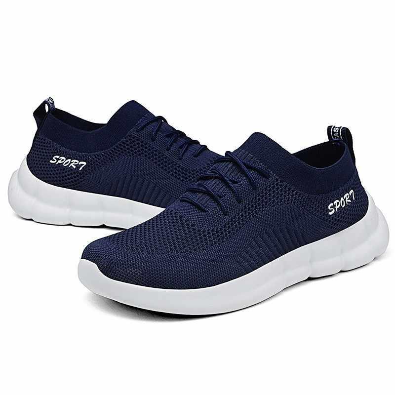 גמישות גבוהה גרב ריצה נעלי גברים רשת להחליק על נעלי ספורט גבר שחור סניקרס לנשימה כושר הנעלה החלקה נעליים