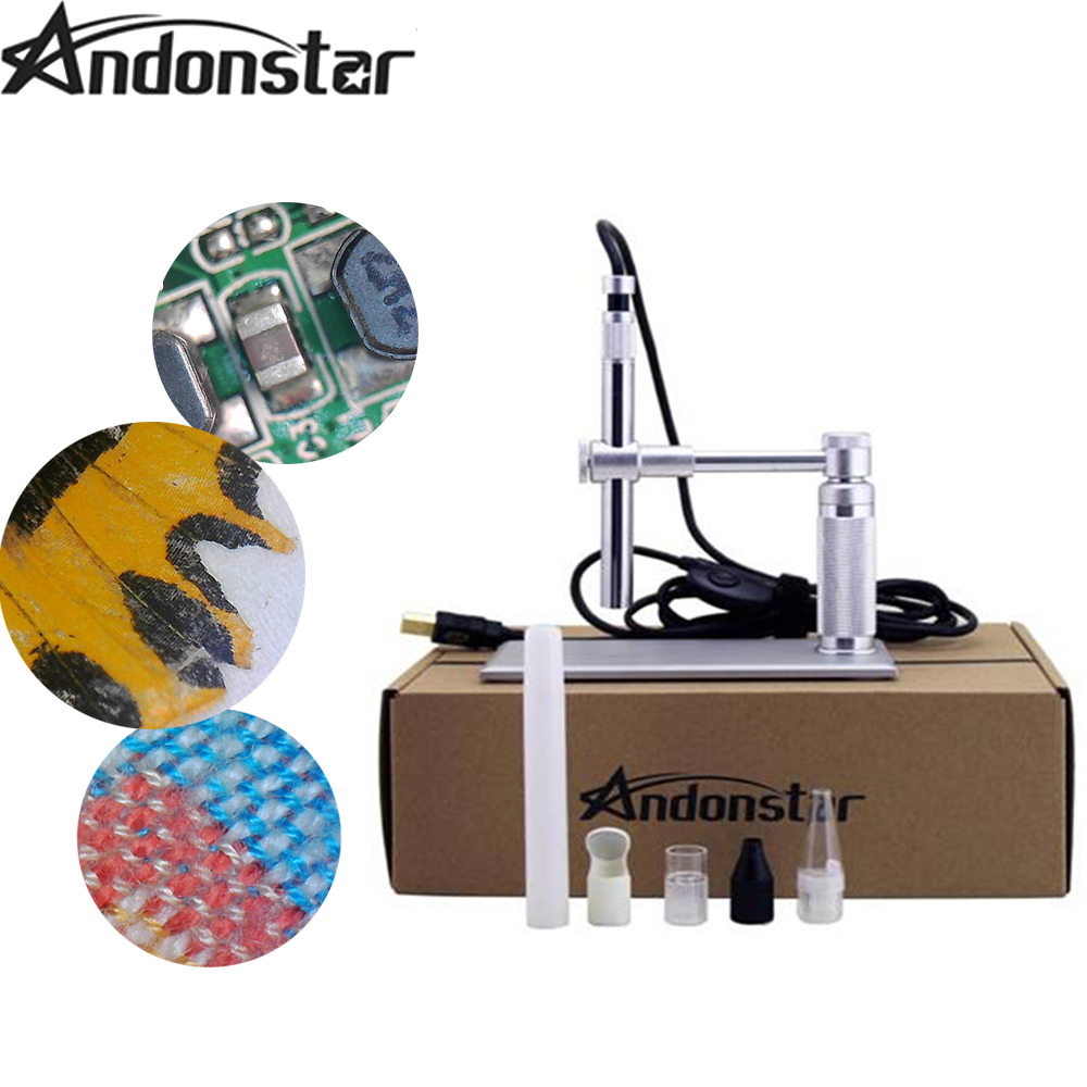 Andonstar 2MP USB Digital Microscope 500x 8 LED usb Microscope Video Camera Stand usb magnifier