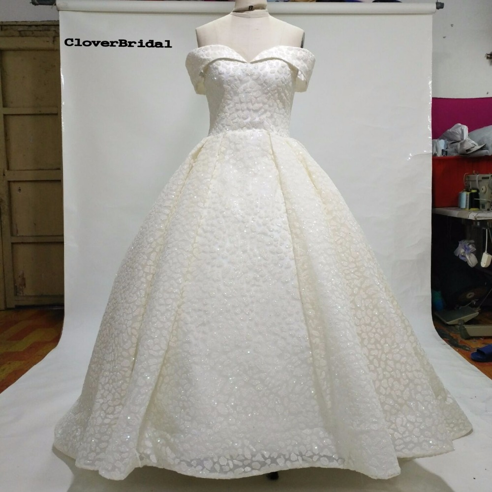 CloverBridal High Quality Newest Off the shoulder Glitter Lace Ivory 2017 Luxury Wedding Dresses Bling Shinning