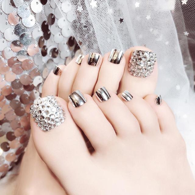 24 Pcs Summer Beauty Chic Toe Nails Metallic Silver For Foot Nail  3