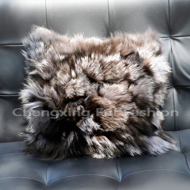 CX-D-52B Retail Square Silver Fox Fur Sofa Pillow Case Pillow Cover