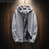 LEFT ROM 2018 Male Autumn fashion brand Long sleeve/Hooded knitting thickening high quality Keep warm sweater men Leisure coat