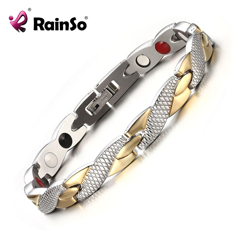 Rainso Brand New Magnetic 4 Health Care Elements 316L Rostfritt Stål Armband & Bangles For Women Fashion Smycken OSB-692GFIR