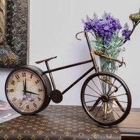 TUDA Free Shipping 18inch Vintage European Style Desk Clock Retro Bicycle Shape Table Clock Creative Metal Decorative Desk Clock