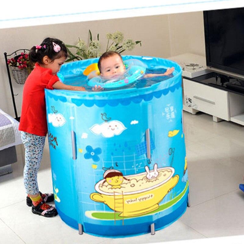 Piscine Creative Bébé À La Maison Utilisation Piscine Soutien Bain Seau Nylon Impression de Dessin Animé Petit-échelle Jouer Avec Bain D'eau g961