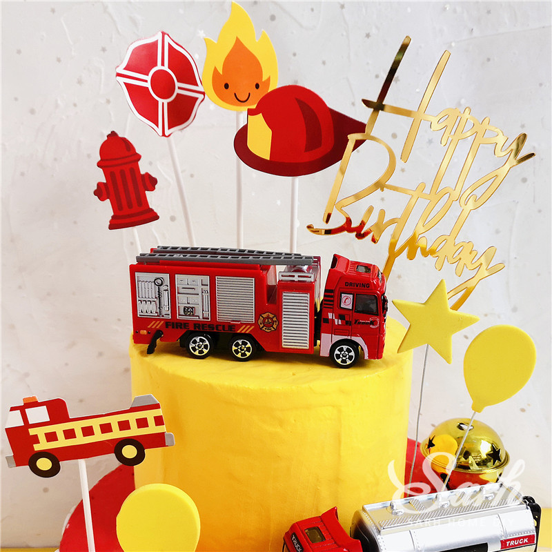 Image 3 - Fireman Set Fire Ladder Truck Decoration for Children's Day Water Tank Happy Birthday Cake Toppers Party Supplies Fashion Gifts-in Cake Decorating Supplies from Home & Garden