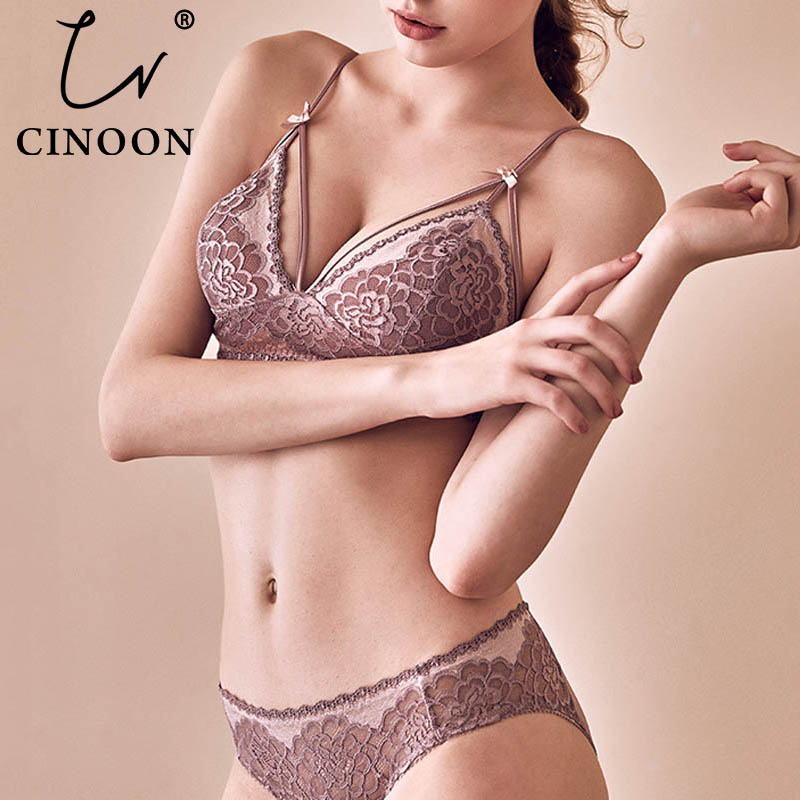 CNIOON  New French Style Sexy Lingerie Floral Lace Underwear Push Up Bra Sets wireless Comfortable Lace brassiere Lingerie set-in Bra & Brief Sets from Underwear & Sleepwears
