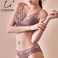 CNIOON  New French Style Sexy Lingerie Floral Lace Underwear Push Up Bra Sets wireless Comfortable brassiere set