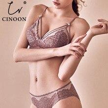 CNIOON 새로운 프랑스어 스타일 섹시 란제리 꽃 레이스 속옷 브래지어 세트를 밀어 무선 편안한 레이스 브래지어 란제리 세트