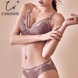 Image 1 - Сексуальное нижнее белье CNIOON, кружевное белье с цветочным принтом и пуш апом во французском стиле