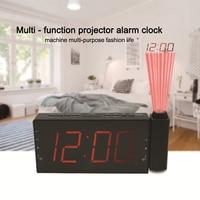 Projection Clock Digital Radio Alarm Clock Timer Temperature LED Display USB Charge Cable 180 Degree Table Wall FM Radio Clock