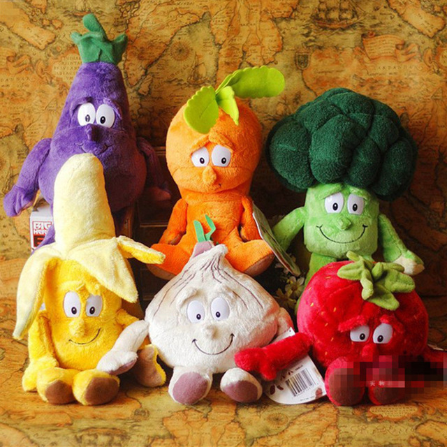 25x35cm New Vegetables Fruits Plush Toys Strawberry Photo Banana Mushroom Soft Plush Doll Toys