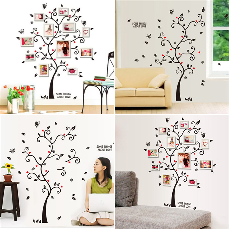 Liplasting black 3d diy photo tree pvc wall decals for Diy family tree wall mural