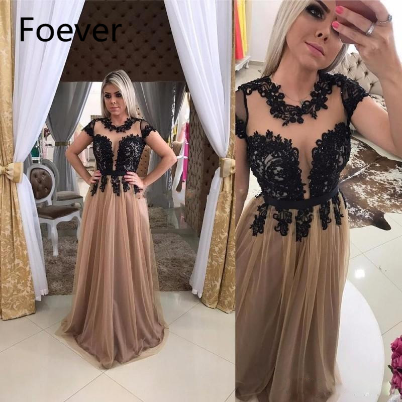 Champagne Tulle Black Appliques Evening Dresses O Neck Short Sleeve Draped Party Dress Floor Length Illusion Back Evening Gowns
